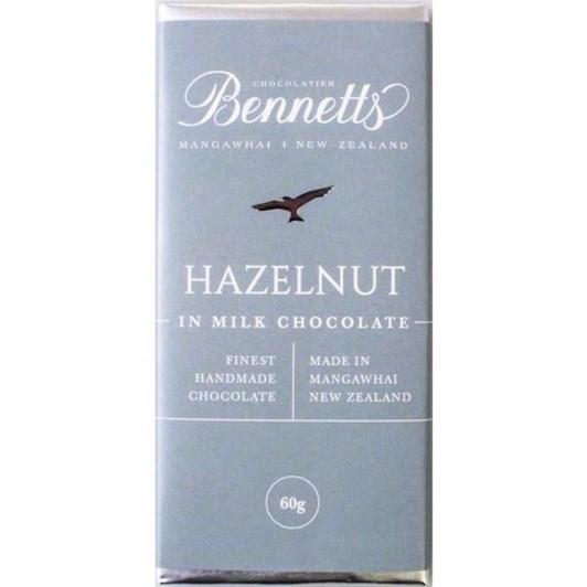 Bennetts Of Mangawhai Hazelnut Milk Chocolate Bar 60g