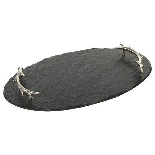 Just Slate Oval Serving Tray With Antler Handles
