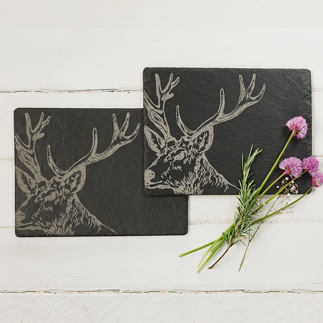 Just Slate Stag Place Mats X2 - na