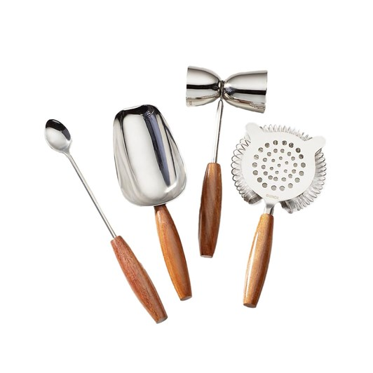 Lenox Tuscany Wood 4 Piece Bar Tool Set (Stirrer, Shovel, Strainer, Jigger)