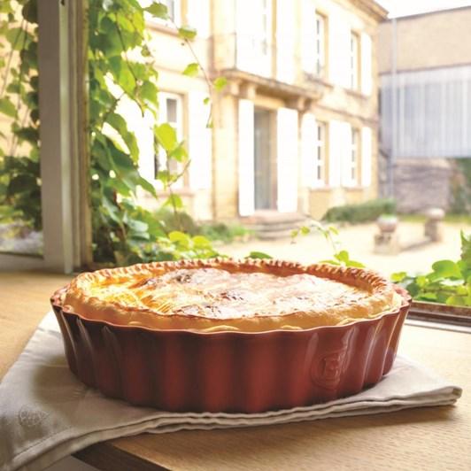 Emile Henry Deep Flan Dish Burgundy 28cm