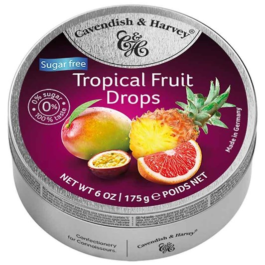 C&H Tropical Fruit Drops Sugar Free Tin 175g