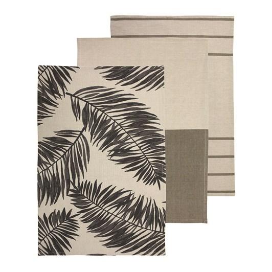 Madras Link Palm Charcoal Teatowel Pack 3