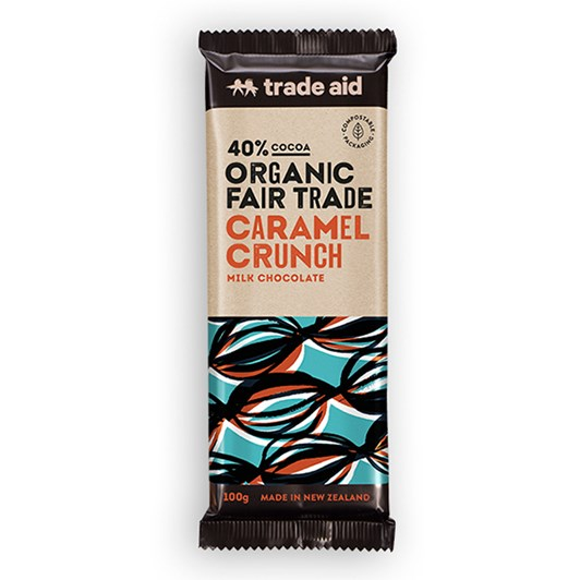 Trade Aid Organic 40% Caramel Crunch Milk Chocolate 100g
