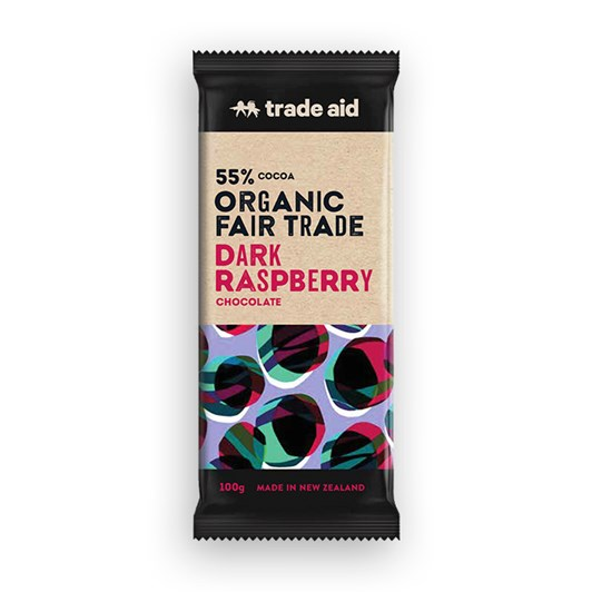 Trade Aid Organic 55% Dark Raspberry Chocolate 100g