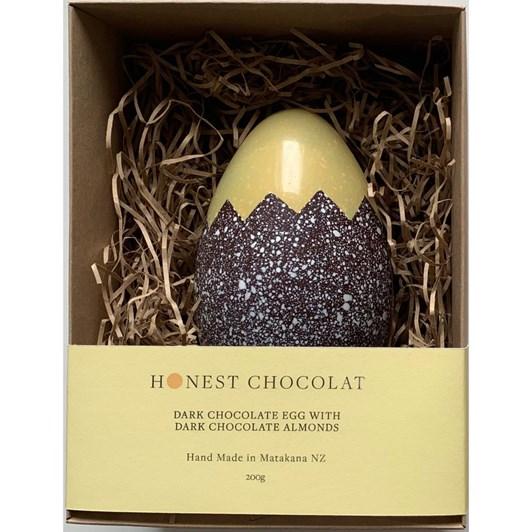 Honest Chocolat Cracked Dark Chocolate Large Egg With Choc Almonds 200g