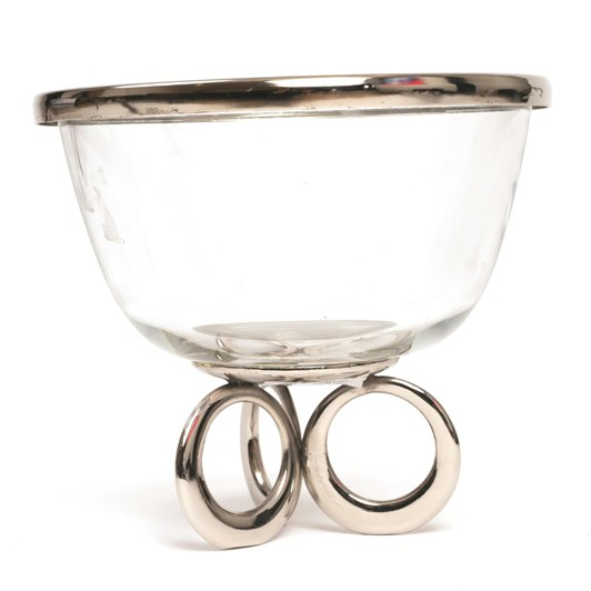 Ballantynes Clear Glass Bowl With Metal Ring Stand