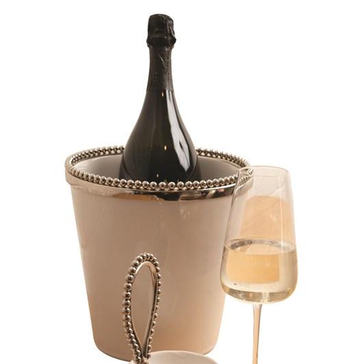 Ballantynes Ceramic Ice Bucket With Metal Beaded Rim & Base