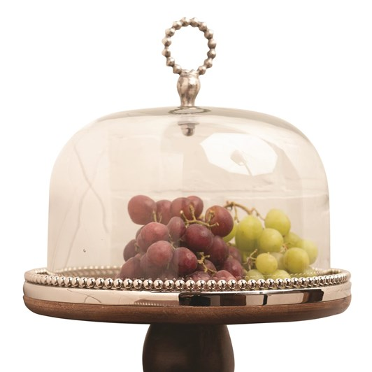 Ballantynes Wooden Cake Stand With Clear Glass Dome
