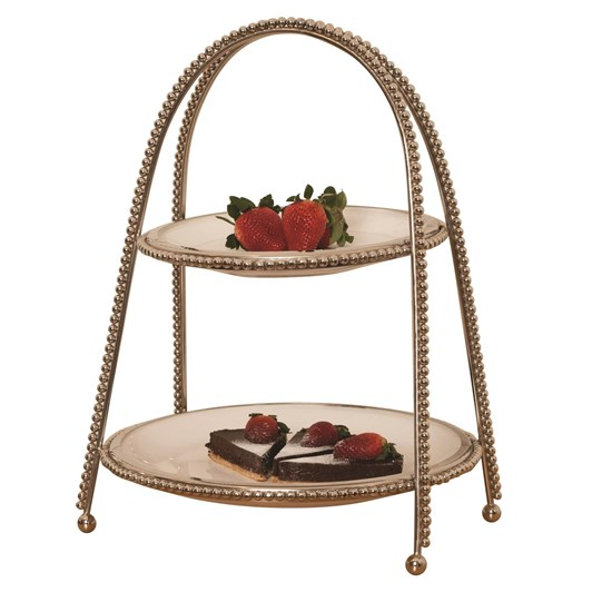 Ballantynes Ceramic 2 Tier Fruit Stand With Metal Beaded Stand