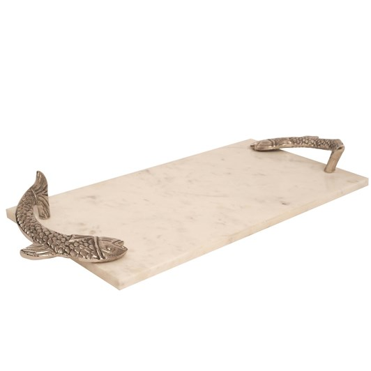 Ballantynes White Marble Rect.Tray With Metal Fish Handle Small