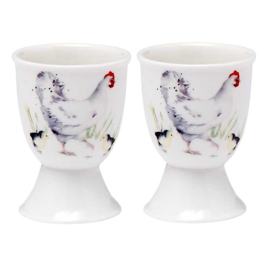 Ladelle Country Chickens Chicken Egg Cup Set Of 2