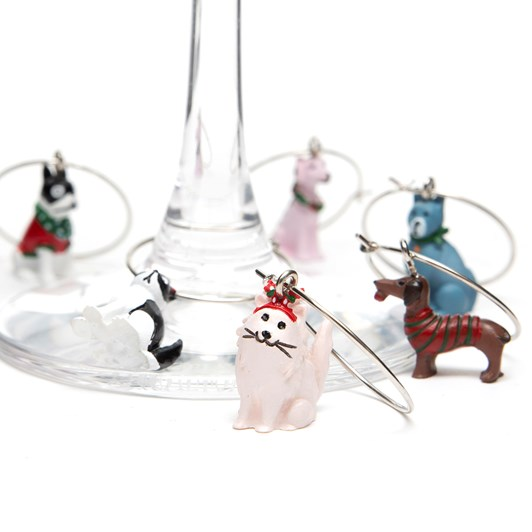 Davis & Waddell Cats & Dogs Wine Charms Set Of 6