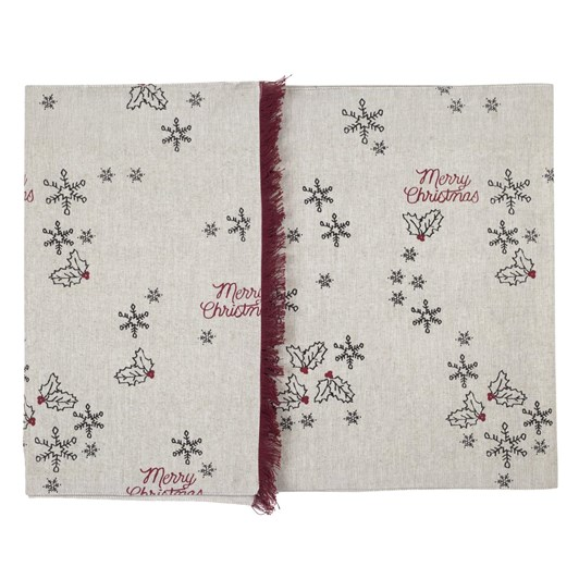 Table Runner With Christmas Print Taupe 40x150cm