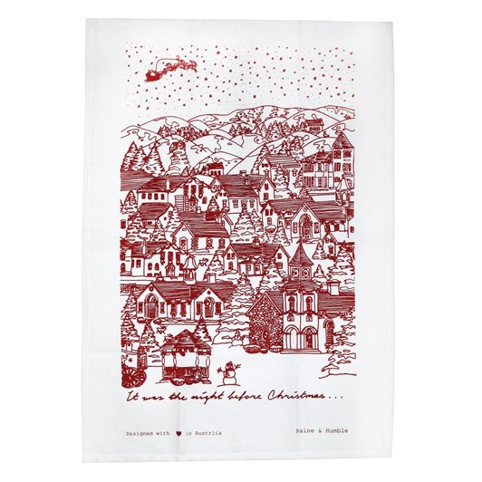 Night Before Christmas Tea Towel Red 50x70cm