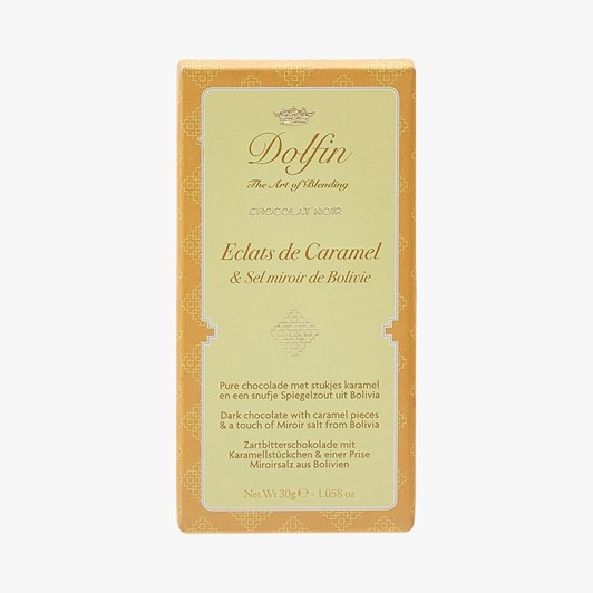 Dolfin Dark Chocolate With Caramel Chips & Bolivian Mirror Salt 30g