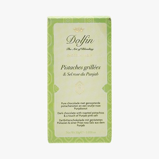Dolfin Dark Chocolate With Roasted Pistachios & Punjab Pink Salt 30g