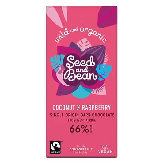 Seed & Bean Dark Sao Tome 66% Organic Coconut & Raspberry 85g