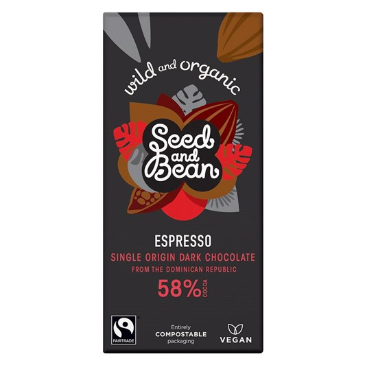 Seed & Bean Dark 58% Coffee Espresso Fairtrade & Organic 85g