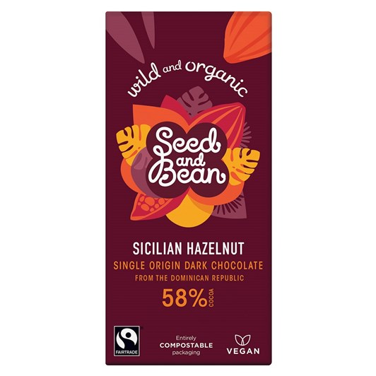 Seed & Bean Dark 58% Hazelnut Fairtrade & Organic 85g