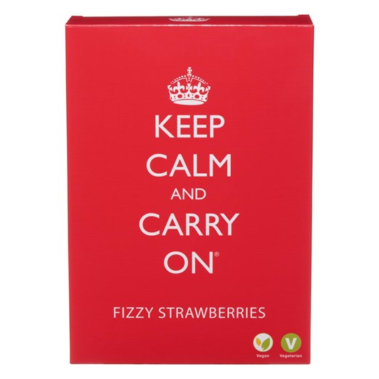 British Keep Calm And Carry On Vegan Fizzy Strawberries Carton 200g