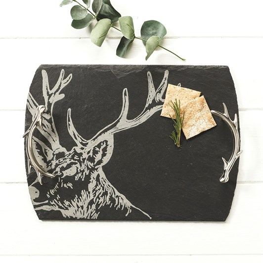 Just Slate Etched Medium Stag Serving Tray