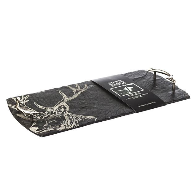 Just Slate Etched Large Stag Serving Tray - na