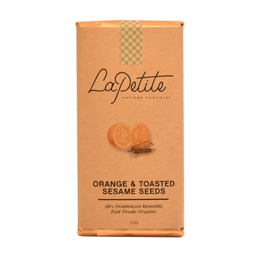 La Petite Artisan Chocolat All Stars Bar 58% Orange & Toasted Sesame Seeds