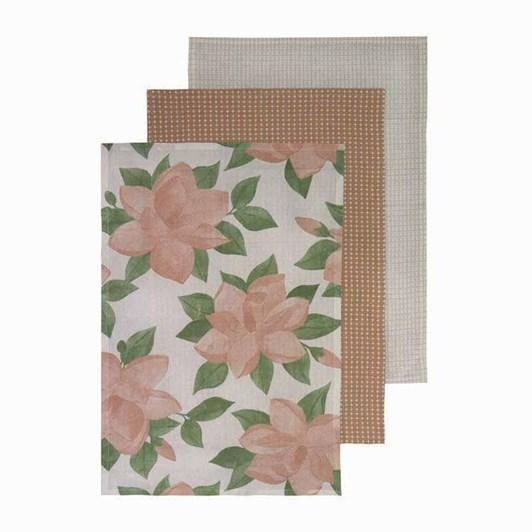 Madras Magnolia Teatowels Pack Of 3