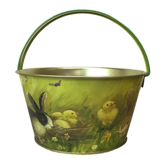 Bunnies And Chicks Metal Easter Basket With Green Handle 19x10cm