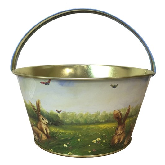 Bunnies And Butterfly Metal Easter Basket With Handle 19x10cm