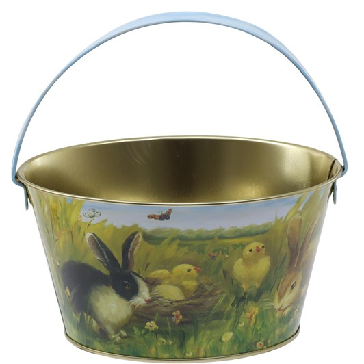 Bunny And Chicks Metal Easter Basket With Handle 19x10cm