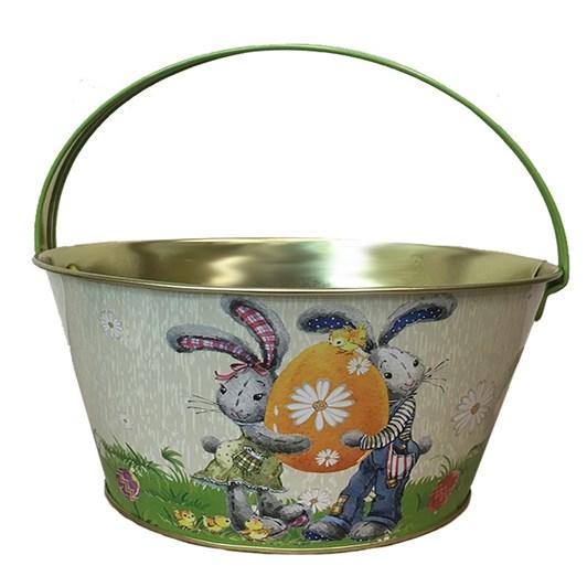 Boy And Girl Bunny Metal Easter Basket With Handle