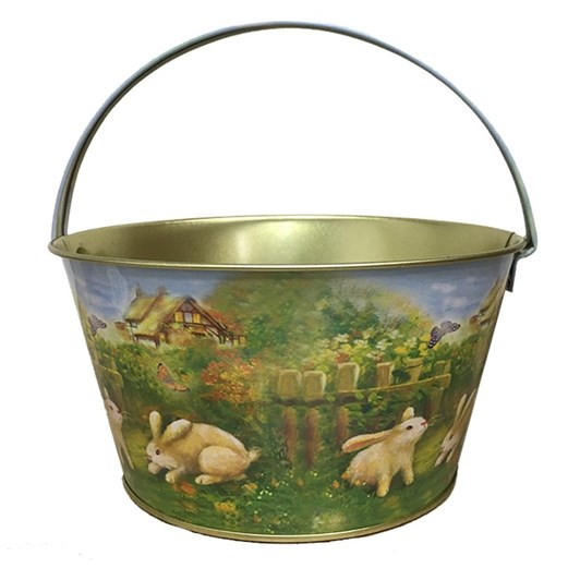 Bunnies Metal Easter Basket With Blue Handle 19x10cm
