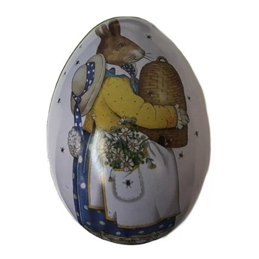 Mrs Bunny Carrying Egg Small Metal Egg 6x4.5x4.5cm