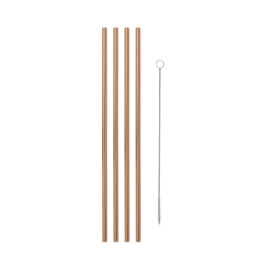 Porter Metal Straws Set Of 4 With Cleaner 10 Inch