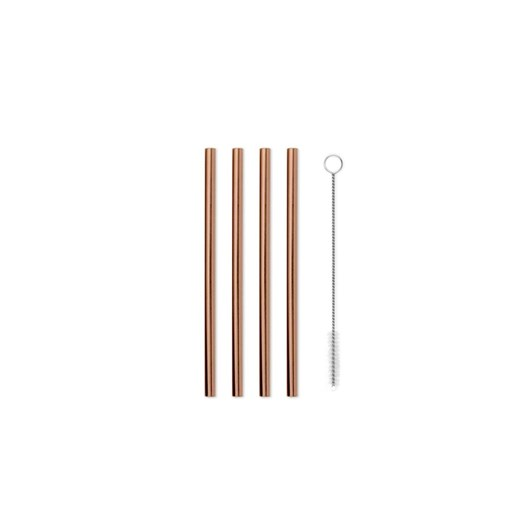 Porter Metal Straws Set Of 4 With Cleaner 5 Inch