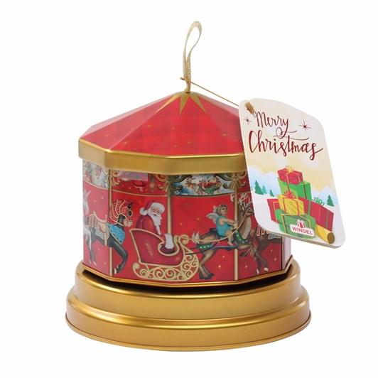 Windel Christmas Metal Carousel Music Box With Chocolate Pralines 150g