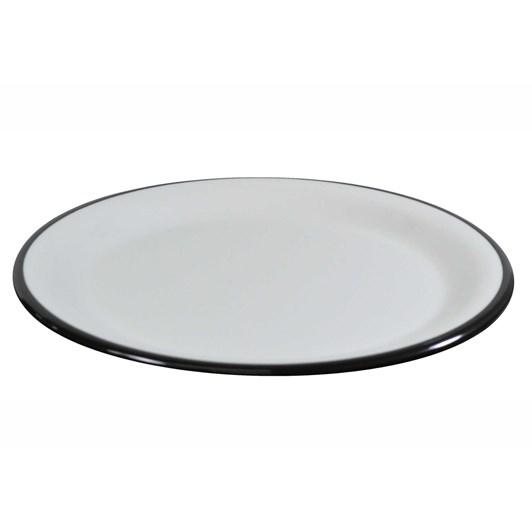 JAB Vintage White/Black Rim Enamel Look Plate 25cm