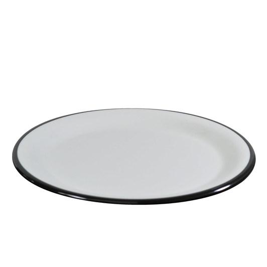 JAB Vintage White/Black Rim Enamel Look Plate 20cm