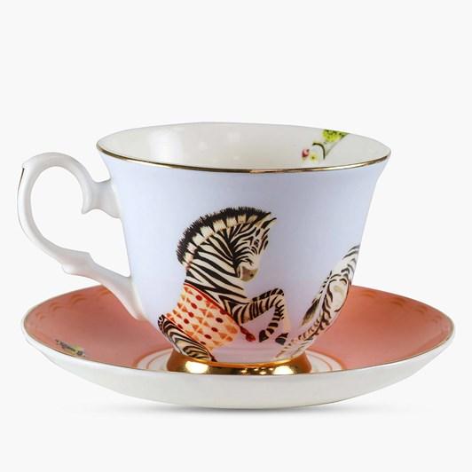 Yvonne Ellen Carnival Zebra Teacup & Saucer