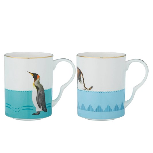 Yvonne Ellen Cheetah & Penguin Mug Set