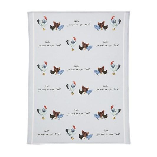 Orchid Tea Towel Hen Girls On Grey