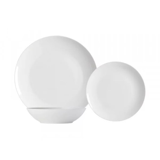 Ladelle Darby White 12 Piece Dinnerware Set