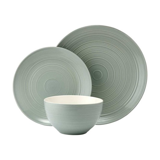 Ladelle Darby Haze Green 12 Piece Dinnerware Set
