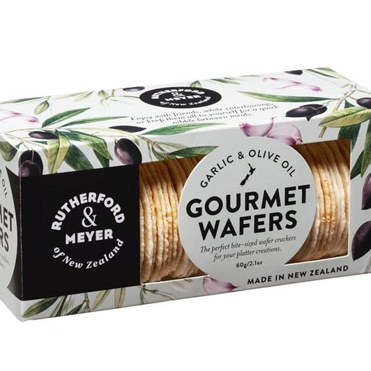 Rutherford & Meyer Gourmet Wafers - Garlic & Olive Oil - 60gm