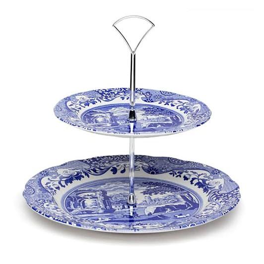 Spode Blue Italian 2 Tier Cake Stand