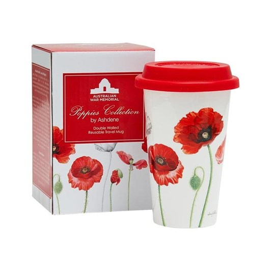 Ashdene Poppies AWM Double Walled Travel Mug