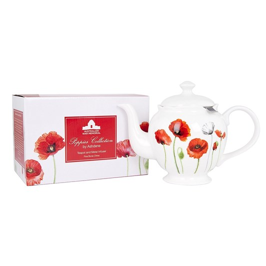 Ashdene Poppies AWM Metallic Infuser Teapot