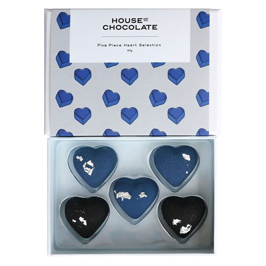 House of Chocolate Five Piece Heart Selection Grey